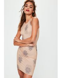 Missguided - Pink Hamsa Hand Racer Bodycon Dress - Lyst