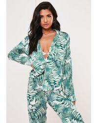 Missguided Green Mix And Match Palm Print Satin Long Sleeve Pyjama Shirt