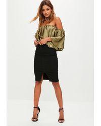 Missguided - Black Denim High Waisted Midi Skirt - Lyst