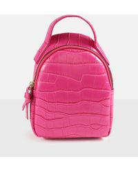 Missguided Pink Croc Extreme Mini Backpack