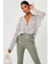 Missguided Dove Gray Sheer Crinkle Extreme Oversized Shirt