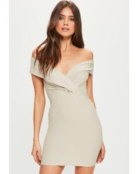 Missguided - Nude Bardot Frill Bodycon Dress - Lyst