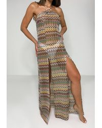 Missguided Chevron Pattern Beach Cover Up Maxi Dress - Multicolour