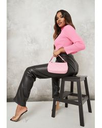 Missguided Diamond Quilted Faux Leather Shoulder Bag - Pink