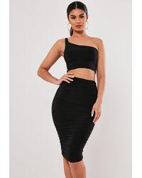 Missguided Stassie X Black Slinky One Shoulder Midaxi Skirt Co Ord Set