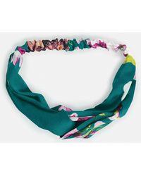Missguided | Green Floral Twist Satin Headband | Lyst