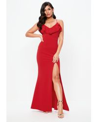 Missguided - Tall Red Frill Detail Plunge Neck Maxi Dress - Lyst