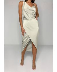 Missguided Satin Asymmetric Drape Midi Dress - Natural