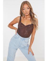 Missguided Mesh Corset Bodysuit - Brown