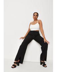 Missguided Plus Size Split Front Wide Leg Trousers - Black