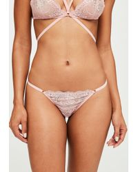 Missguided - Pink Ring Diamante Detail Thong - Lyst
