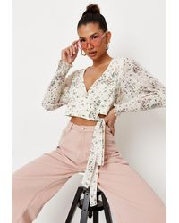 Missguided Ditsy Shirred Sleeve Wrap Blouse - White