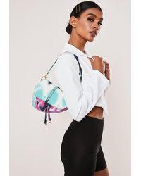 Missguided Purple Canvas Tie Dye Saddle Bag