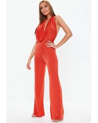 Missguided - Orange Slinky Halter Cowl Neck Jumpsuit - Lyst