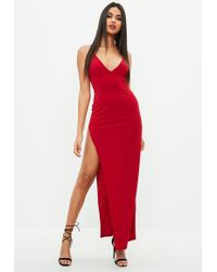 Missguided - Red Stretch Multi Strap Plunge Split Maxi Dress - Lyst