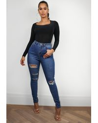 Missguided Distressed Skinny Jeans - Blue