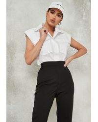 Missguided - Shoulder Pad Sleeveless Shirt - Lyst