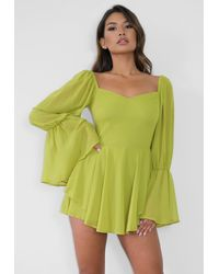 Missguided Green Overlay Milkmaid Romper
