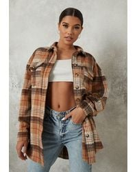 Missguided Oversized Check Shacket - Multicolor