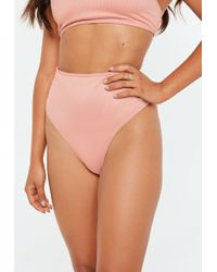 Missguided - Blush Ribbed High Leg Brief Mix And Match - Lyst