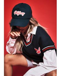 Missguided Playboy X Navy Varsity Graphic Cap - Blue