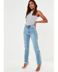 Missguided Blue Slim Straight Highwaisted Thigh Slash Jeans