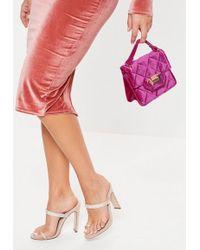 Missguided Purple Micro Mini Velvet Quilted Handbag