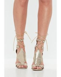 Missguided - Gold Ankle Tie Gladiator Sandals - Lyst