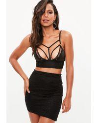 Missguided - Black Asymmetric Lace Mini Skirt - Lyst
