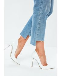 Missguided - White Patent Court Shoes - Lyst