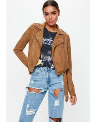 Missguided Tall Tan Cropped Suedette Biker Jacket - Blue