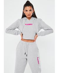 Missguided Playboy X Gray Fitted Cropped Hoodie