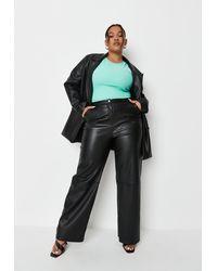 Missguided Plus Size Faux Leather Wide Leg Pants - Black