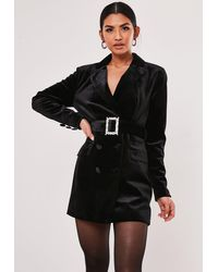 Missguided Black Velvet Diamante Belt Blazer Dress