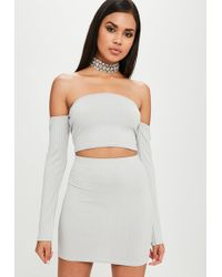Missguided - Carli Bybel X Grey Ribbed Mini Skirt - Lyst