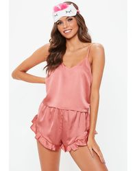 Missguided Cropped Cami Pj Set Pink