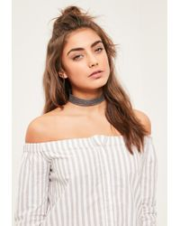 Missguided - Grey Snake Pattern Choker Necklace - Lyst