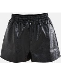 Missguided Faux Leather Runner Shorts - Black