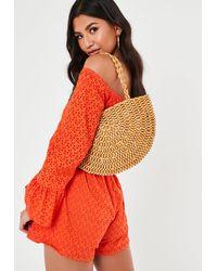 Missguided Tan Wooden Beaded Half Moon Bag - Multicolor