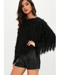 Missguided - Black Shaggy Knitted Jumper - Lyst