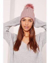 Missguided | Pink Metallic Knit Faux Fur Pom Pom Beanie | Lyst