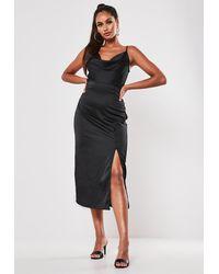 Missguided Black Satin Button Side Cami Midi Dress