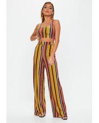 Missguided - Mustard Velvet Stripe Wide Leg Pants - Lyst