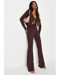 Missguided Rib Tie Front Cardigan And Flared Trousers Co Ord Set - Brown