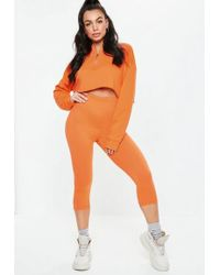 Missguided - Orange Cropped Co Ord Leggings - Lyst