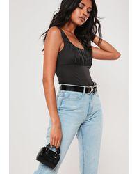 Missguided Black Croc Effect Micro Mini Bowler Handbag