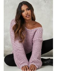 Missguided Lilac Hand Knit V Neck Oversized Sweater - Purple