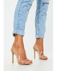Missguided - Nude Pointed Clear Mules - Lyst