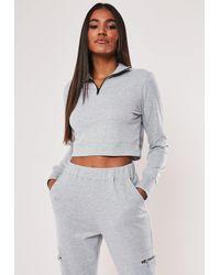 Missguided Grey Zip Through High Neck Cropped Sweatshirt - Gray