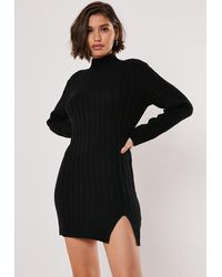 Missguided Black Rib High Neck Knitted Sweater Dress